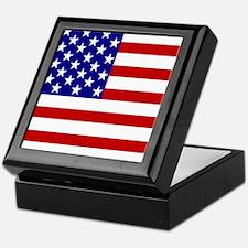 Square USA Flag Keepsake Box