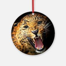 Leopard Portrait Round Ornament