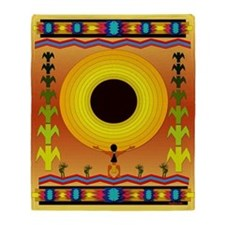 Sunflower Song Indian Motif Throw Blanket