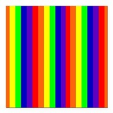 "Rainbow Stripes Bryan's Square Car Magnet 3"" x 3"""