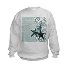 beach starfish blue burlap Sweatshirt