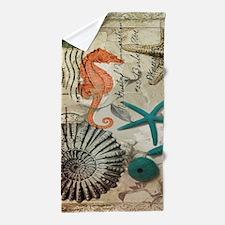 french beach sea shells Beach Towel