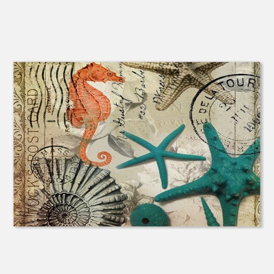 french beach sea shells Postcards (Package of 8)