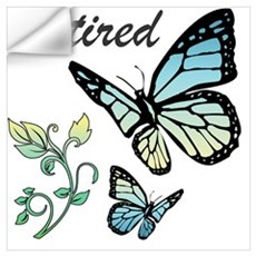 Retired w/ Butterflies Wall Decal