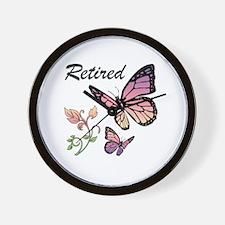 Retired w/ Butterflies Wall Clock