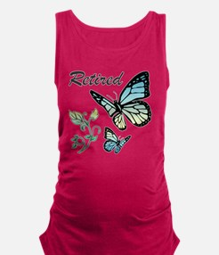 Retired w/ Butterflies Maternity Tank Top