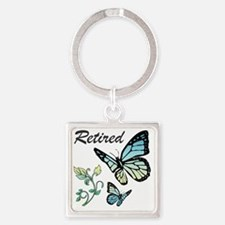 Retired w/ Butterflies Square Keychain