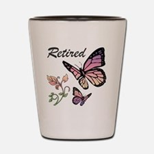 Retired w/ Butterflies Shot Glass