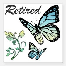 """Retired w/ Butterflies Square Car Magnet 3"""" x 3"""""""