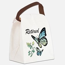 Retired w/ Butterflies Canvas Lunch Bag