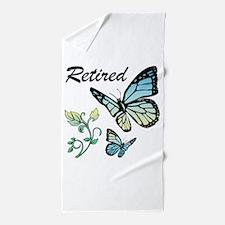 Retired w/ Butterflies Beach Towel