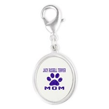 Jack Russell Terrier mom design Silver Oval Charm