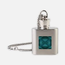 abstract teal geometric pattern Flask Necklace