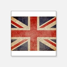 "Unique Vintage union jack Square Sticker 3"" x 3"""