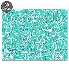 Aqua Hand Drawn Flower Outline Pattern Puzzle