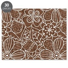 Brown Hand Drawn Flower Outline Pattern Puzzle