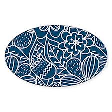 Blue Hand Drawn Flower Outline Patt Decal