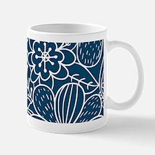 Blue Hand Drawn Flower Outline Pattern Mug