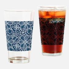 Blue Hand Drawn Flower Outline Patt Drinking Glass