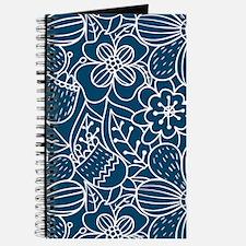 Blue Hand Drawn Flower Outline Pattern Journal