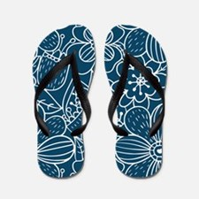 Blue Hand Drawn Flower Outline Pattern Flip Flops