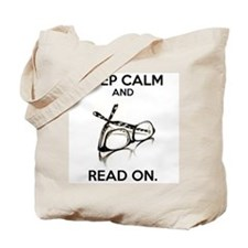 Keep Calm and Read On Glasses Tote Bag