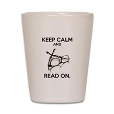 Keep Calm and Read On Glasses Shot Glass