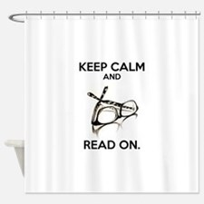 Keep Calm and Read On Glasses Shower Curtain