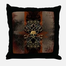 Skull with snakes Throw Pillow