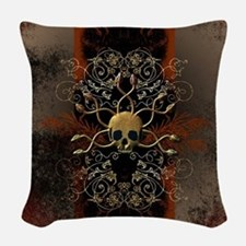 Skull with snakes Woven Throw Pillow