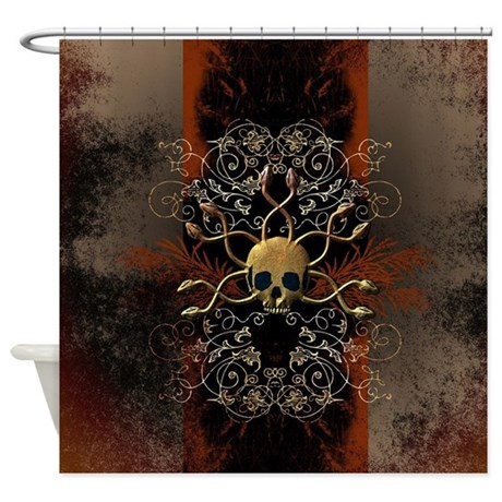 Goth Shower Curtain Part - 18: Skull With Snakes Shower Curtain