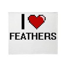 I Love Feathers Digital Design Throw Blanket