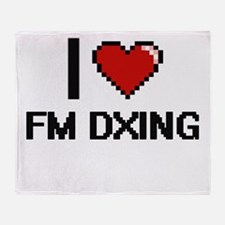 I Love Fm Dxing Digital Design Throw Blanket