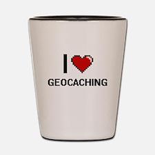 I Love Geocaching Digital Design Shot Glass