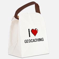 I Love Geocaching Digital Design Canvas Lunch Bag