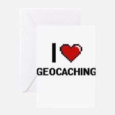I Love Geocaching Digital Design Greeting Cards
