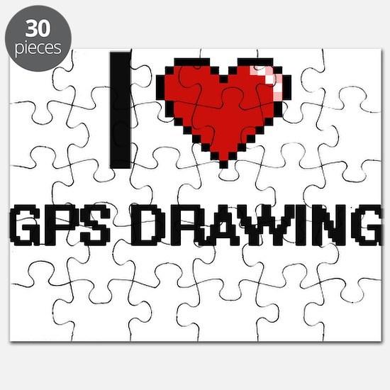I Love Gps Drawing Digital Design Puzzle