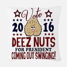 Deez Nuts President 2016 Woven Throw Pillow