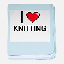 I Love Knitting Digital Design baby blanket