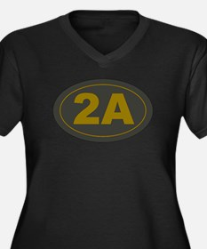 2A Oval Dark Olive/HE Yellow Plus Size T-Shirt