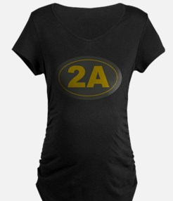 2A Oval Dark Olive/HE Yellow Maternity T-Shirt