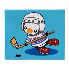 Ice Hockey Penguin Throw Blanket