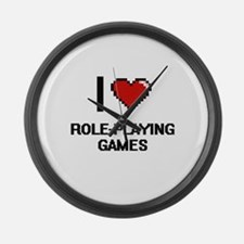 I Love Role-Playing Games Digital Large Wall Clock