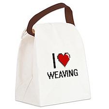 I Love Weaving Digital Design Canvas Lunch Bag