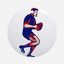 Rugby Player Running Passing Ball Retro Round Orna