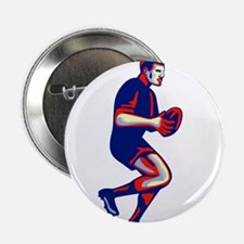 """Rugby Player Running Passing Ball Retro 2.25"""" Butt"""