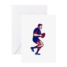 Rugby Player Running Passing Ball Retro Greeting C