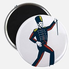 Drum Major Marching Band Leader Woodcut Magnets