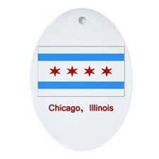 Chicago IL Flag Oval Ornament
