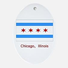 Chicago IL Flag Oval Ornament